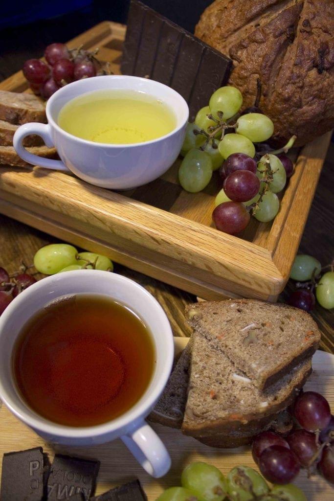 tea pairing tasting food grapes bread teacup