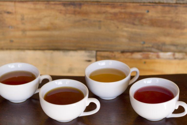 Tea cup tasting wood bar